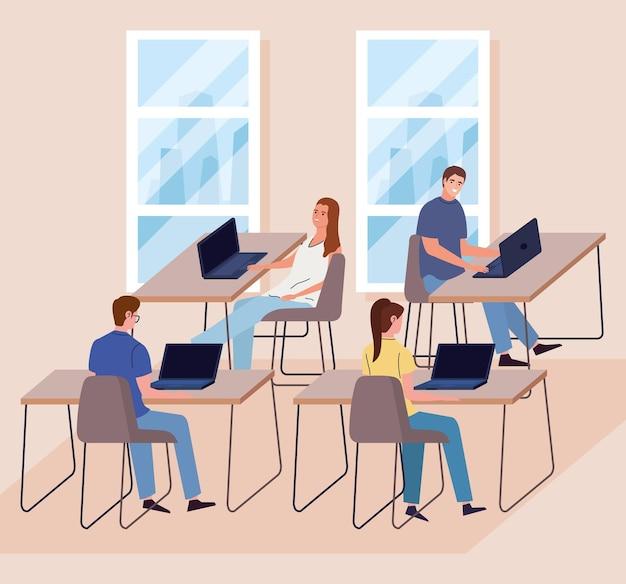Werknemers op de werkplek