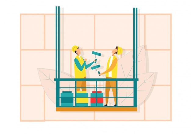 Werknemers op lift verfroller voor muurschildering