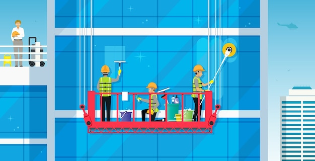 Werknemers reinigen het glazen gebouw met een veilige kraan