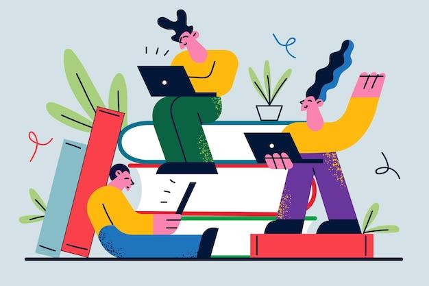 Werknemers stripfiguren zittend op grote hoop boeken
