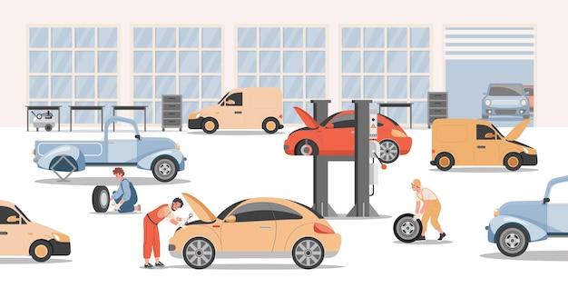 Werknemers team tuning en reparatie van auto's