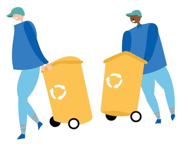 Werknemers verzamelen afval en dragen containers recyclen