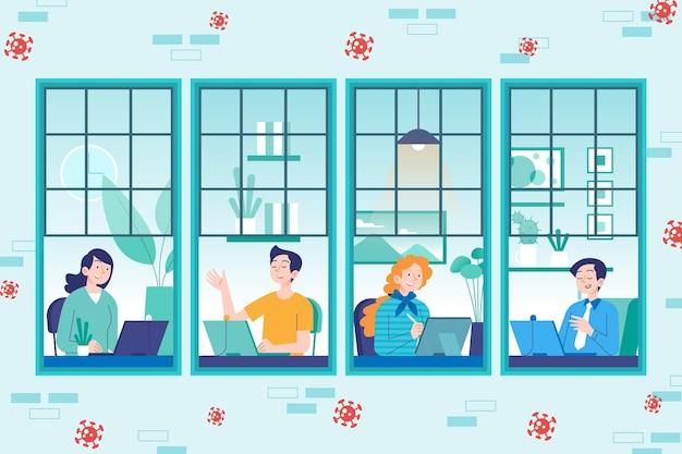 Werknemers werken vanuit huis concept