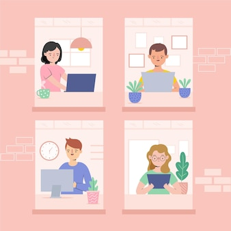Werknemers werken vanuit huis illustratie