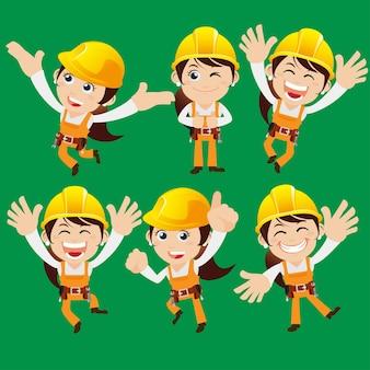 Werknemerskarakters met verschillende poses.