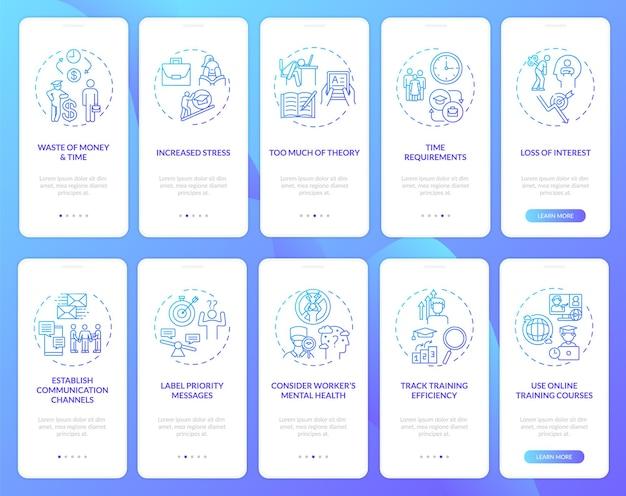 Werknemersopleiding en bijles onboarding mobiele app-paginascherm met ingestelde concepten. kantoormedewerkers stappen weer in de loop van de stappen. ui-sjabloon met rgb-kleur