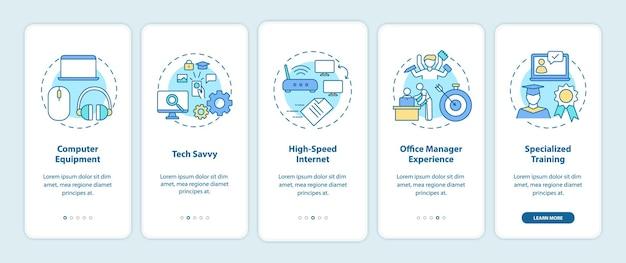 Werknemersvaardigheden onboarding mobiele app-paginascherm met concepten