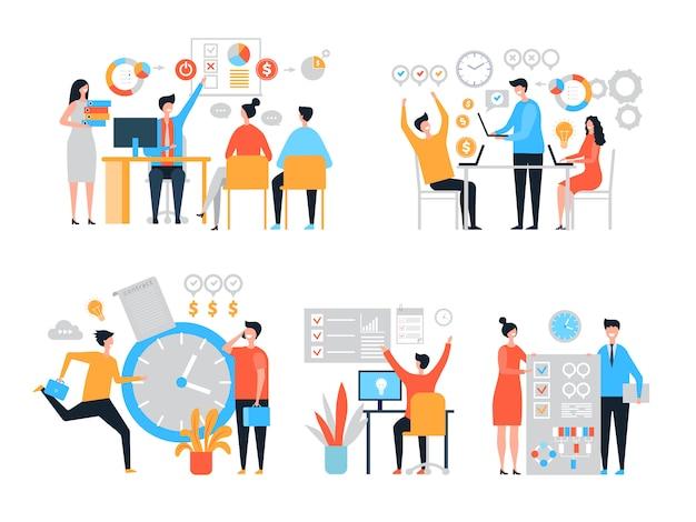 Werkorganisatie. taakbeheer mensen productiviteit organiseren procesefficiëntie gestileerde karakters