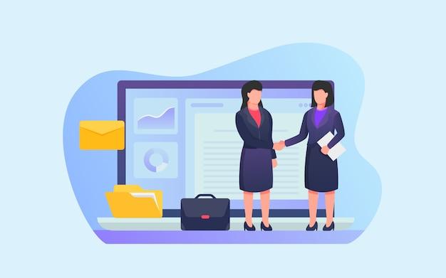 Werkovereenkomst tussen werkgever en werknemer met enkele gerelateerde pictogrammen