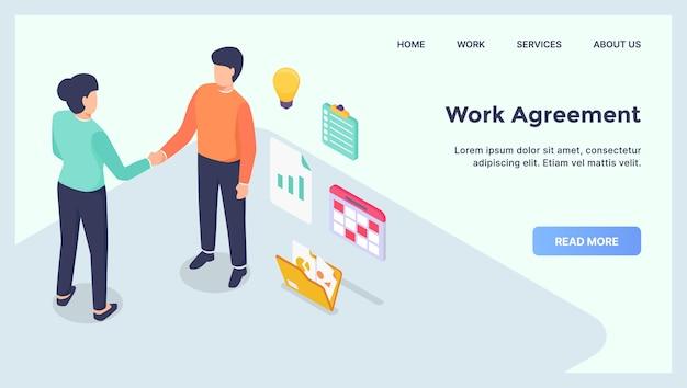 Werkovereenkomst zakelijke deals voor website sjabloon landing homepage met moderne isometrische flat