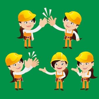 Werkpersonages in verschillende poses