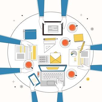 Werkplaats van creatief team in dunne lijnstijl