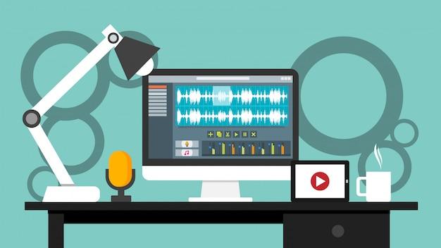Werkplaats van softwareapplicatie voor geluids- en video-editorinterfaces op computermonitor
