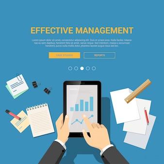 Werkplek bovenaanzicht met handen op touchscreen tablet grafiek rapport documenten illustratie. effectief beheer plat ontwerp