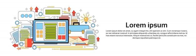 Werkplek computer desktop kantoor werknemer bureau elementen sjabloon voor horizontale banners