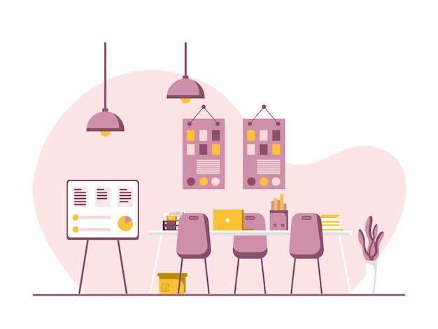 Werkplek en werkplek plat ontwerp, concept van bureau of kantoorinterieur met meubilair. moderne kantoorruimte met computer, tafel en apparatuur. werk vanuit huis illustratie.