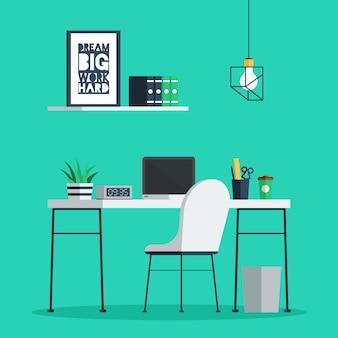 Werkplek freelance interieur met laptop, klok, koffiekopje en plant op bureau, thuiskantoor.