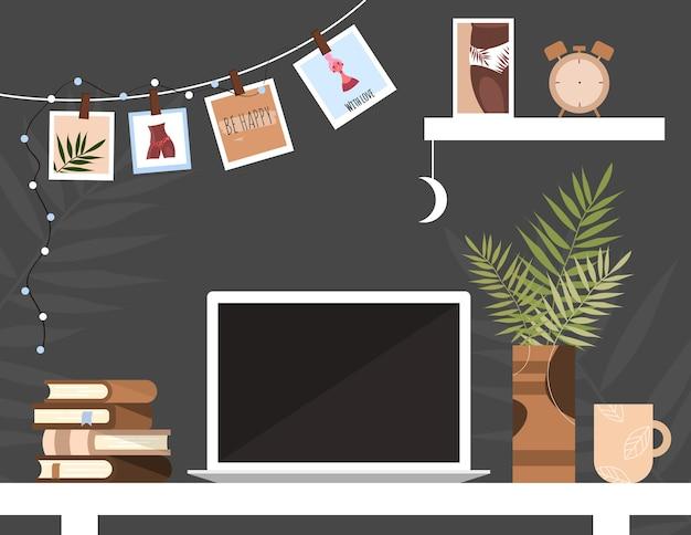 Werkplek in huis. werkruimte. werken op afstand vanuit huis. loft interieur. gezellige kamer. tafel met een laptop