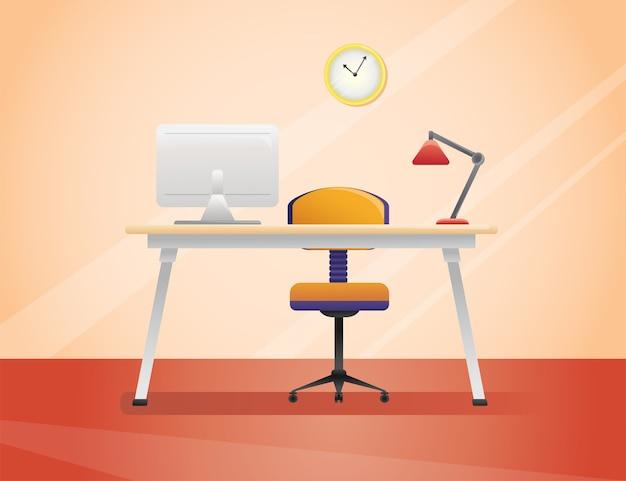 Werkplek, kantoor in stijl. interieur illustratie