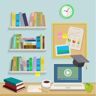 Werkplek met computer voor online onderwijs