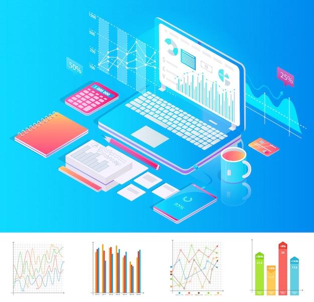 Werkplek met laptop met grafieken en extra spullen