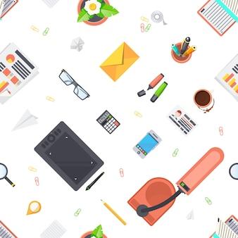 Werkplek objecten naadloze patroon