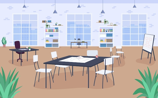Werkplek ontwerp egale kleur. vergaderruimte, studie. werkomgeving. werkbank. open kantoorruimte 2d cartoon interieur met grote ramen en boekenkasten op de achtergrond