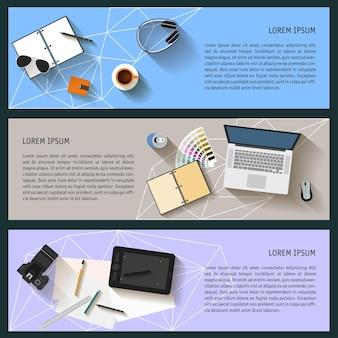 Werkplek organisatie grafisch patroon achtergrond in vlakke stijl