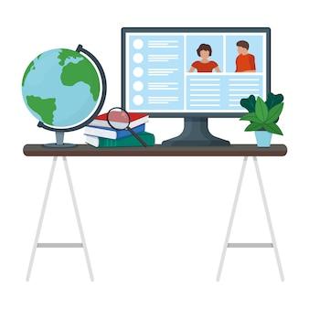 Werkplek tafel met computer monitor apparaat, mannelijke vrouwelijke video online internet communicatie geïsoleerd