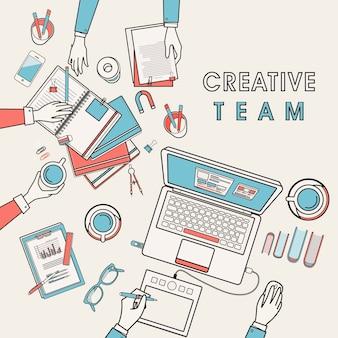 Werkplek van creatief team in flat line design