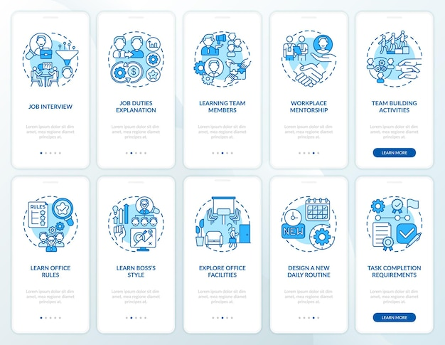 Werkplek van mentorschap onboarding mobiele app-paginascherm met ingestelde concepten. lerende teamleden doorlopen een ui-sjabloon in tien stappen met rgb-kleurenillustraties