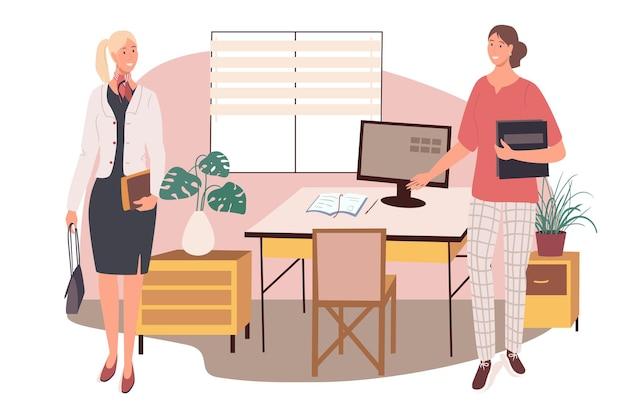 Werkplek webconcept. werknemers bijeen op kantoor