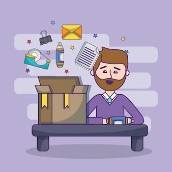 Werkplek werknemer werkruimte cartoon