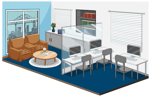 Werkplekbinnenland met meubilair