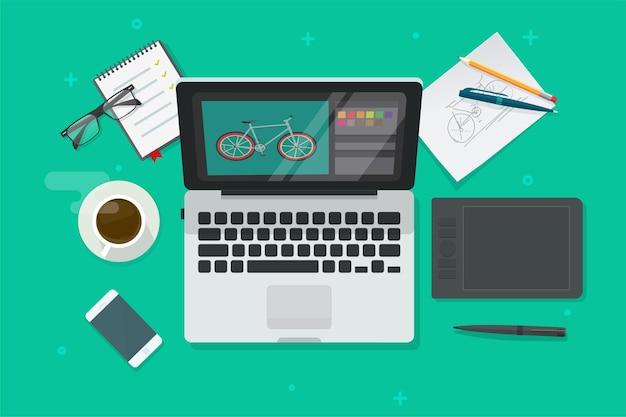Werkplektafel van digitale grafische webdesigner