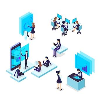 Werkproces concept. mensen uit het bedrijfsleven werken in team