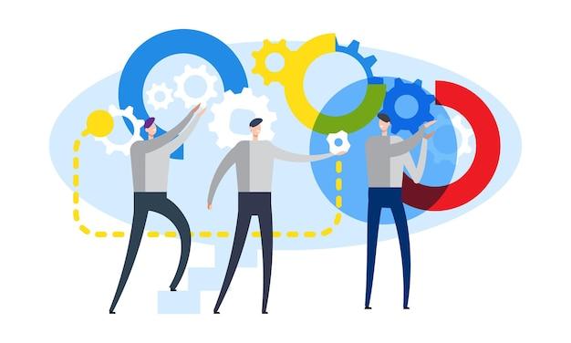 Werkproces en teamwork concept mannelijke karakters bewegende versnelling proces platte vectorillustratie
