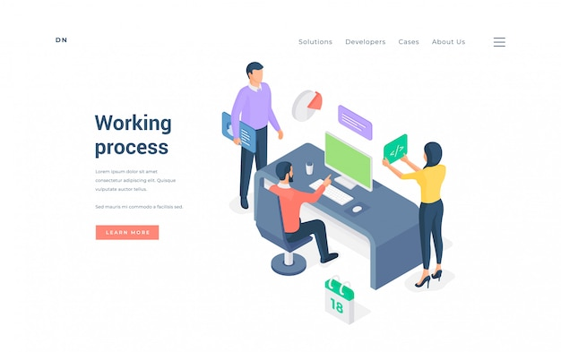 Werkproces in moderne kantoor. isometrische illustratie