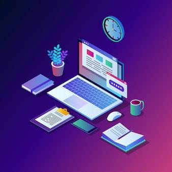 Werkproces. tijdsbeheer. 3d isometrische kantoorwerkplek met computer, laptop, pc, mobiele telefoon, koffie, klok, kalender, document.