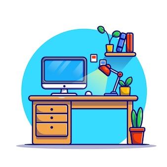 Werkruimte cartoon pictogram illustratie. onderwijs technologie pictogram concept geïsoleerd. platte cartoon stijl