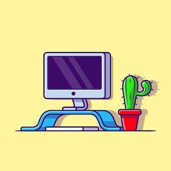 Werkruimte computer met plant cartoon vector pictogram illustratie. technologie object icon concept geïsoleerde premium vector. platte cartoonstijl
