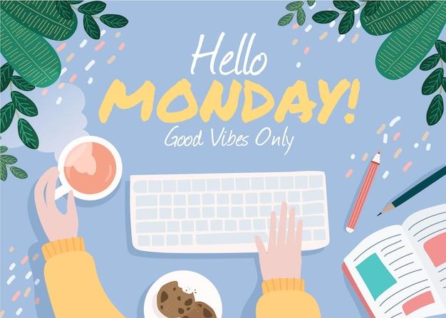 Werkruimte hallo maandag achtergrond