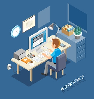 Werkruimte isometrische vlakke stijl. mensen uit het bedrijfsleven werken aan een bureau.
