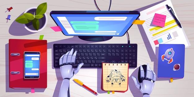 Werkruimte met robot die aan het bovenaanzicht van het computertoetsenbord werkt.