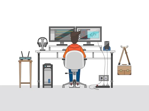 Werkruimte van een audio-ingenieur of een muziekproducent