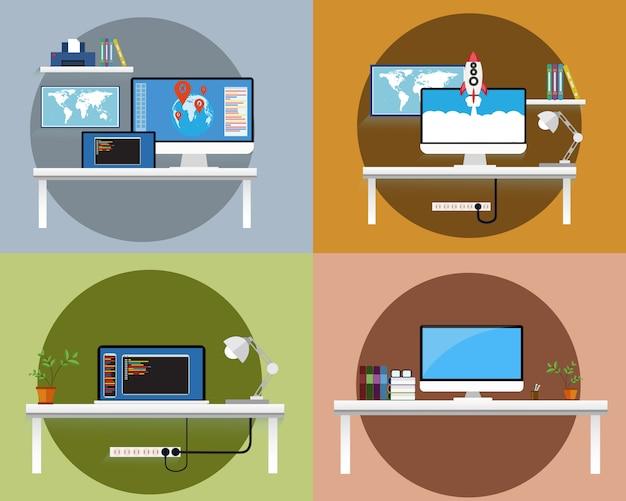 Werkruimtecomputer en bureau voor het werken van vlakke ontwerpvector.