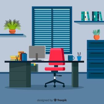 Werkruimteconcept in vlakke stijl