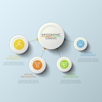 Werkstroomdiagram, hoofdcirkel verbonden met 4 ronde elementen door stippellijnen. vier stappen naar succesconcept. creatief infographic ontwerpsjabloon.