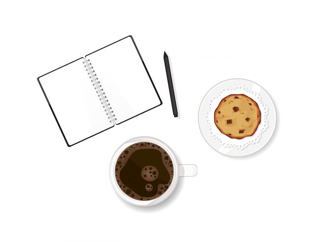 Werktafel met koffie, chocolate chip cookie dessert en notitieboek. herinneringen schrijven in dagboek. vector illustratie geïsoleerde cookie
