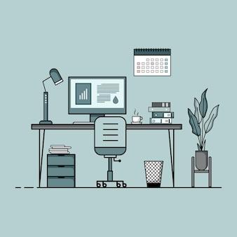 Werktafel plat ontwerp concept van bureau interieur met meubels werkkamer met computer desktop tafel stoel boek en stationaire apparatuur werk vanuit huis cartoon
